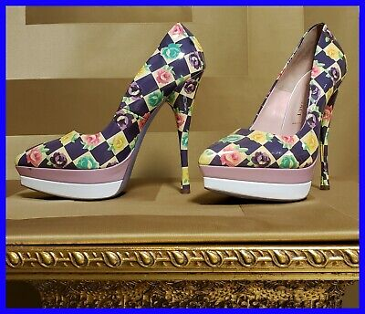 NEW VERSACE PATENT LEATHER FLORAL PRINTED DOUBLE PLATFORM PUMP SHOES 37 - 7