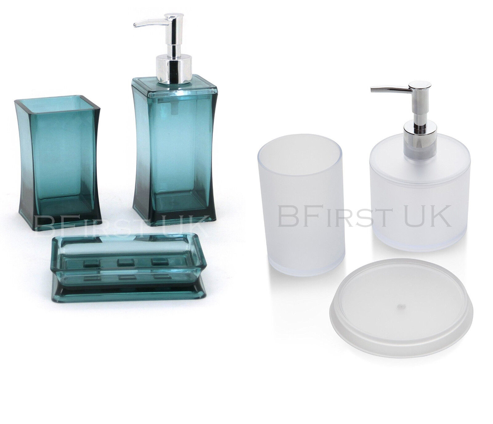 3pc round square bathroom glass chrome accessory set tumbler dispenser soap dish ebay - Bathroom soap dish sets ...