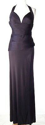 VERSACE Purple Pleated Open Back Dress Gown  2  4