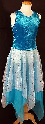 Dance Fairy-Shows-Midsummer Nights Dream BLUE LYRICAL SPARKLE DRESS All - Lyrical Dance Kostüm