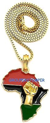 - Power Fist On Pan-African Africa Pendant Necklace With 24 Inch Chain