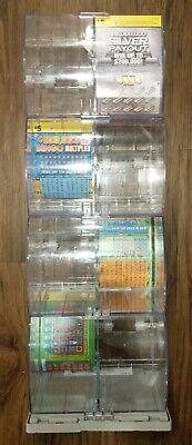 8 Lottery Scratch Ticket Display Case Box Dispenser Unit 3 Keys Clear Plastic 3