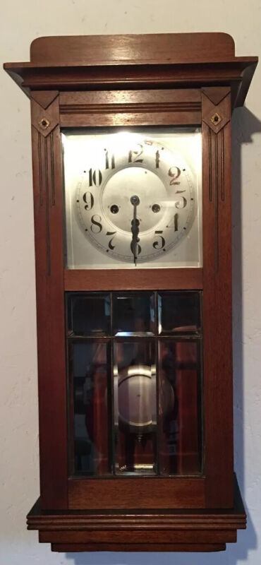 Antique Mission Arts And Crafts Period Wall Clock Leaded Glass with Key