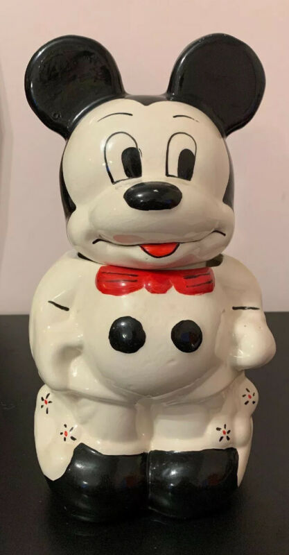 VINTAGE TURNABOUT 4 IN 1 MICKEY AND MINNIE TWO SIDED COLOR COOKIE JAR
