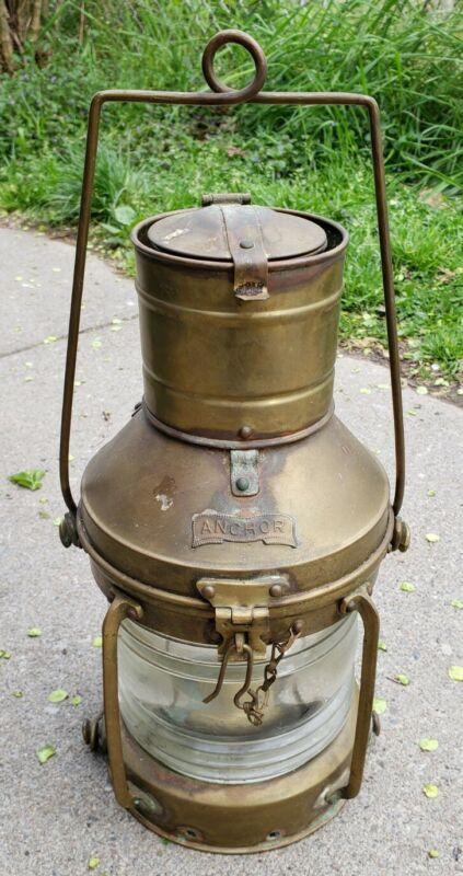 Rare Antique Anchor Brass Ship Oil Lantern Nautical Boat Light Navy Maritime