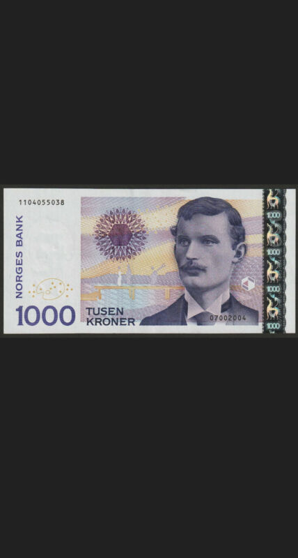 1000 Norway Kroner 2004 Circulated Banknote. 1000 Norwegian Cir Bill. Bankkores