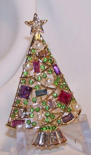 Napier Rhinestone Christmas Tree Pin Brooch-Fruit Salad Stones-F. Pearls-Signed
