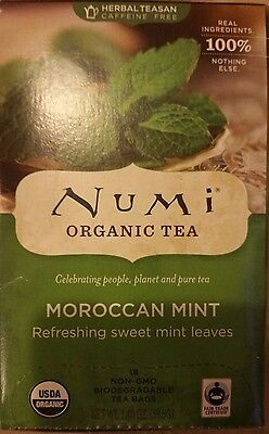 8 boxes of Numi Organic Tea Bags Moroccan Mint (180 tea bags) best by April