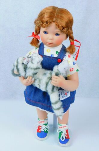 "Danbury Mint Porcelain Doll I Love Cats ""Can I Keep Her?"" RuBert 16"" Tall"