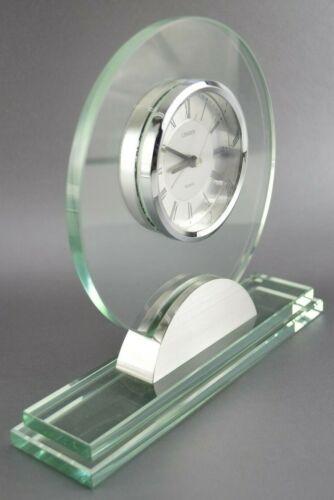 LINDEN Modern Quartz Desk Table Clock, Glass and Silver