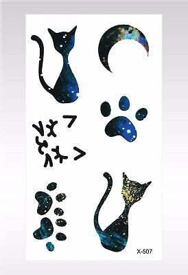 US SELLER- cat moon paw temporary tattoo ribs lower - Cat Paws Tattoo