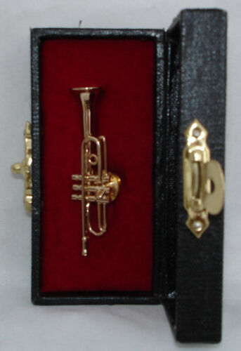 """Trumpet brass gold plated handmade collectible miniature tie tag pin 1.9"""" w/case"""