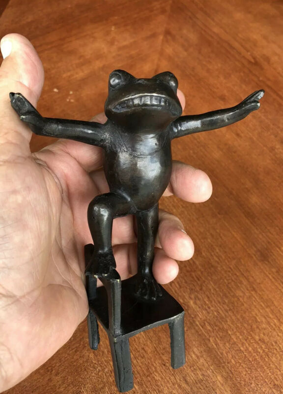 Lucky Yoga Prosperity Frog Grade A Pure Bronze Antique Patina