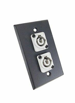 ProCraft Black Wall Plate  2 Power Out Gray AC Jacks, Mates w/ Neutrik Powercon - Gray Wall Plate
