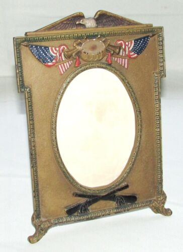 Antique American Patriotic Picture Frame HUBLEY Cast Iron 9445 Stamped 78ZZJ