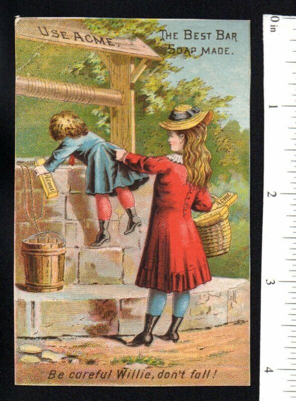 GIRL LOOKS OVER WELL WALL ACME BAR SOAP 1880
