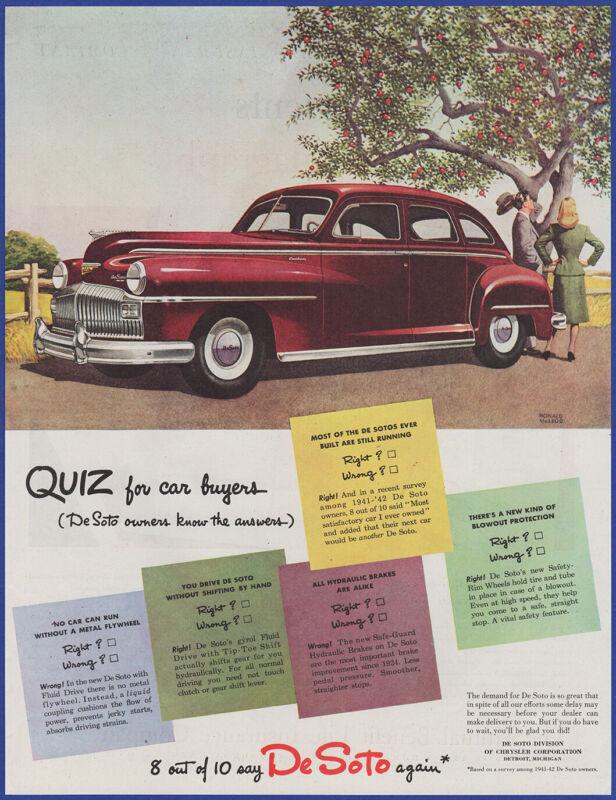 Vintage 1946 DE SOTO Automobile Car Custom 4 Door Sedan DeSoto 40