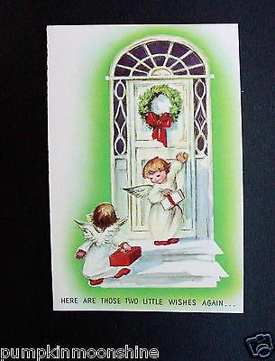 Vintage Erica Von kager Brownie Xmas Greeting Card Angels Delivering Presents