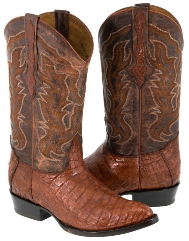 Mens, Cognac, Smooth, Genuine, Crocodile, Belly, Skin, Leather, Western, Cowboy, Boots