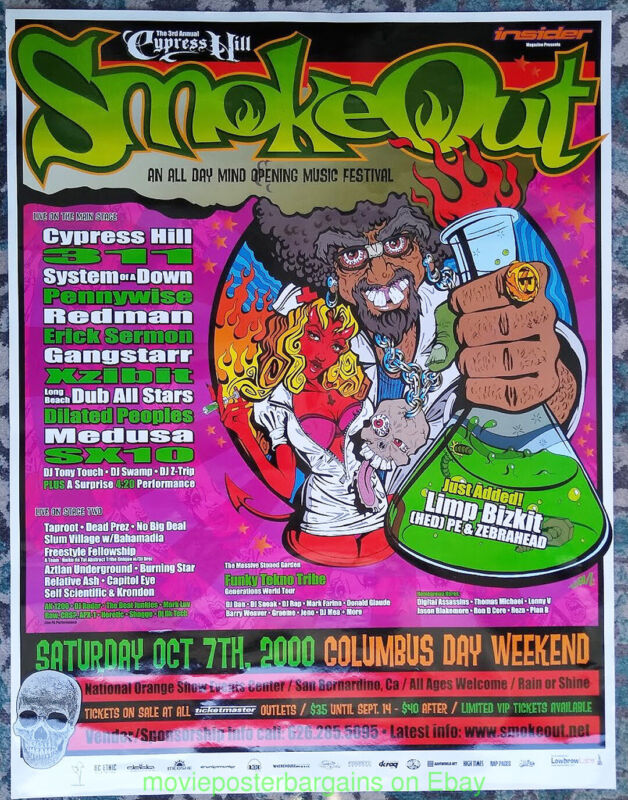 CYPRESS HILL ROCK POSTER 2000 SMOKEOUT FESTIVAL Rare Promo SYSTEM OF A DOWN