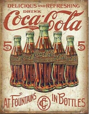 Drink Coca Cola Coke Delicious Refreshing 5 Cents Retro Nostalgic Tin Metal Sign ()