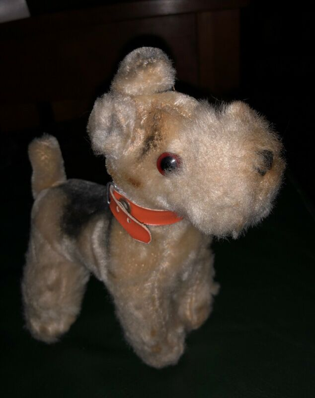 "Vtg Airedale Terrier Dog 7"" Plush Standing Made in Japan With Tag"