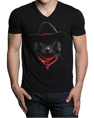 New Men's Cowboy Cat V-Neck Black T Shirt Kitten Rodeo Southern Riding - Men Cat Costumes