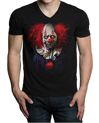 New Men's Zombie Clown V-Neck Black T Shirt Halloween Scary Mask Costume Joke](Black Halloween Costume Joke)