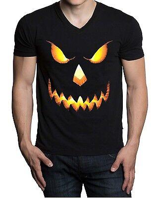 Men's Pumpkin Skull Face V-Neck Black T Shirt Scary Horror Evil Halloween Tee