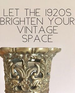 Antique 1920s milkglass & brass lamp