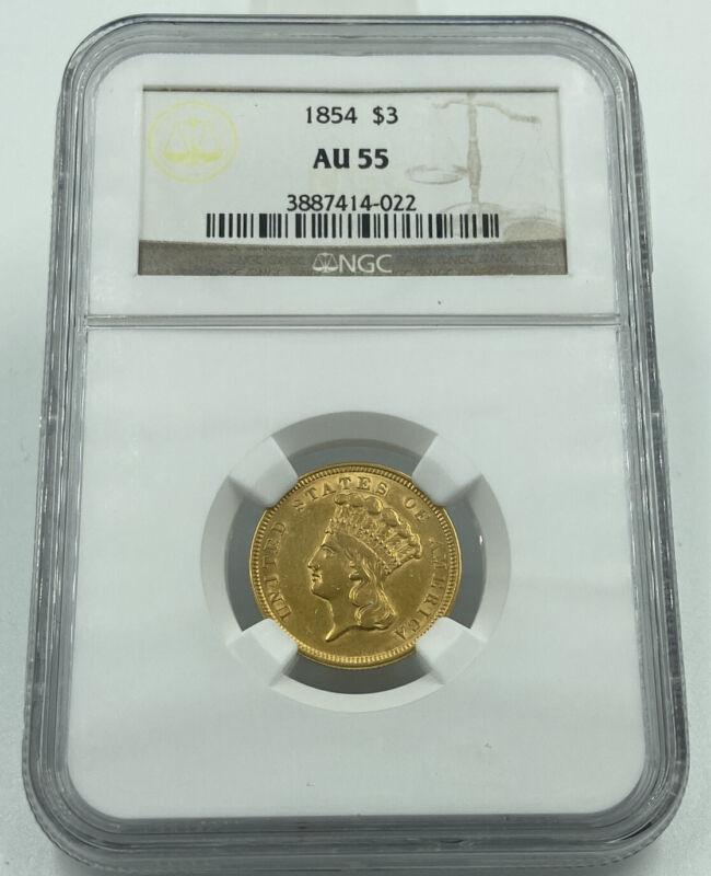 1854 NGC AU55 $3 Gold Indian Princess Stunning Luster