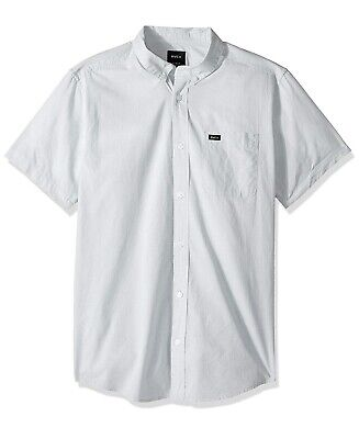 NWT RVCA Mens WHT Oxford Button Down Shirt Short Sleeve Industrial Ride Shop IRS