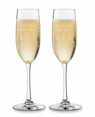 2PK Personalized Champagne Flutes - Custom Engraved Toasting Glasses