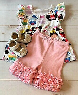 Girls Disney Characters Inspired Pink Ruffled Shorts + Top Set, Adorable! NEW 5T