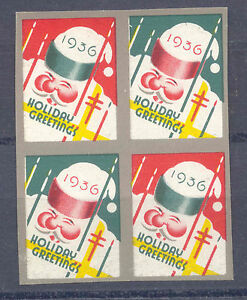 VF-MNH-1936-IMPERF-block-of-4-XMAS-SEALS-Christmas-United-States