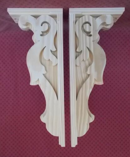 PAIR of Wood Corbels -- 7 x 17-1/4 x 3 -- Unfinished (#7007)