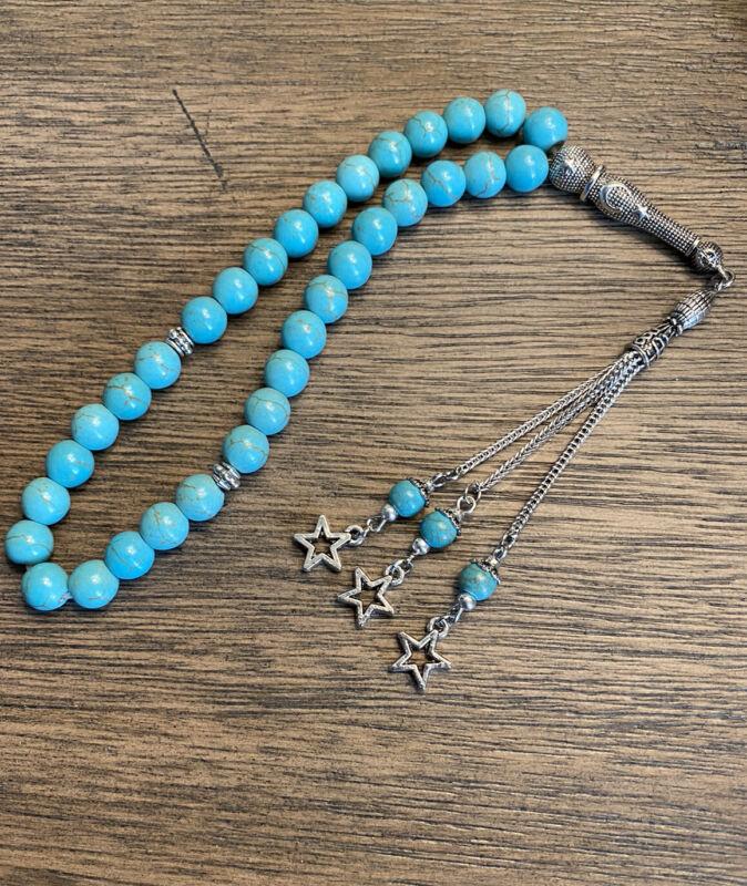 turquoise rosary 33 Beads سبحه فيروز مسبحة Small Size 8mm Gemstone