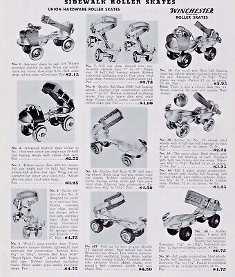 1957 Vintage Side Walk Roller Skates WinChester Print Ad