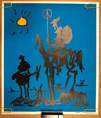 Original Vintage Blacklight Poster King Mickey 1969 Don Quixote Sancho Panza 60s