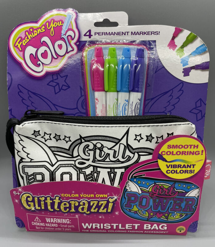Fashions You Color Girl Power Wristlet Bag & 4 Markers Glitterazzi #2228