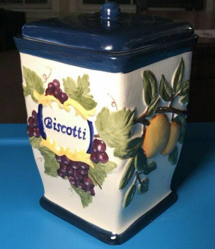 Biscotti Cookie Jar Cannister - Beautiful Colors