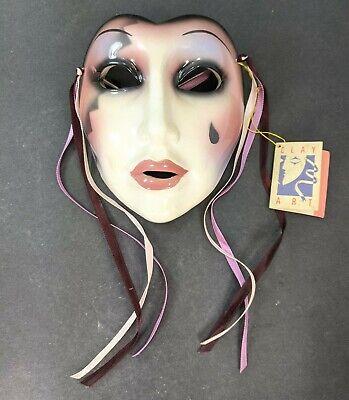 Lady Mardi Gras Face 80's Ceramic Wall Mask Clay Art SF San Francisco w/ Tag