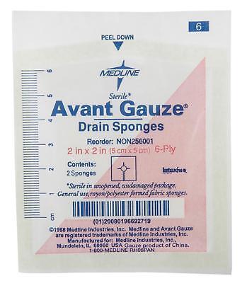 Medline Avant Gauze Sterile Drain Sponge  2 X2   6 Ply  Case Of 70   Non256001z