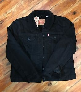 NWT Levi's ladies XL black faux sherpa denim jean jacket