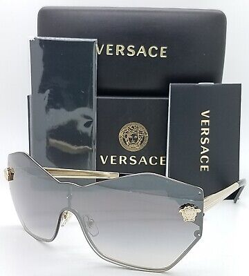 NEW Versace sunglasses VE2182 12526l 43mm Pale Gold Grey Silver Mirror GENUINE  (Real Versace Sunglasses)