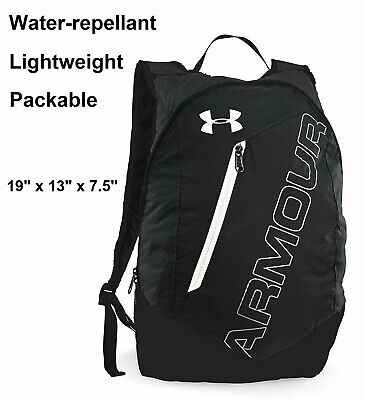 Under Armour Packable Black & White Lightweight Nylon Backpack Good for Hiking