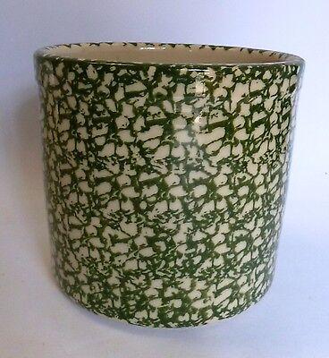 "Gerald E Henn Workshops Crock Green Sponge Ware Canister Pot  Roseville 6"" H"