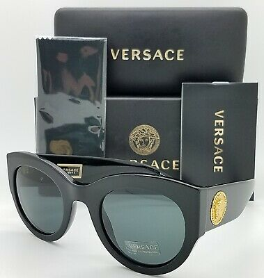 NEW Versace sunglasses VE4353 GB1/87 51mm Black Gold Grey Green AUTHENTIC (Black Gold Versace Sunglasses)