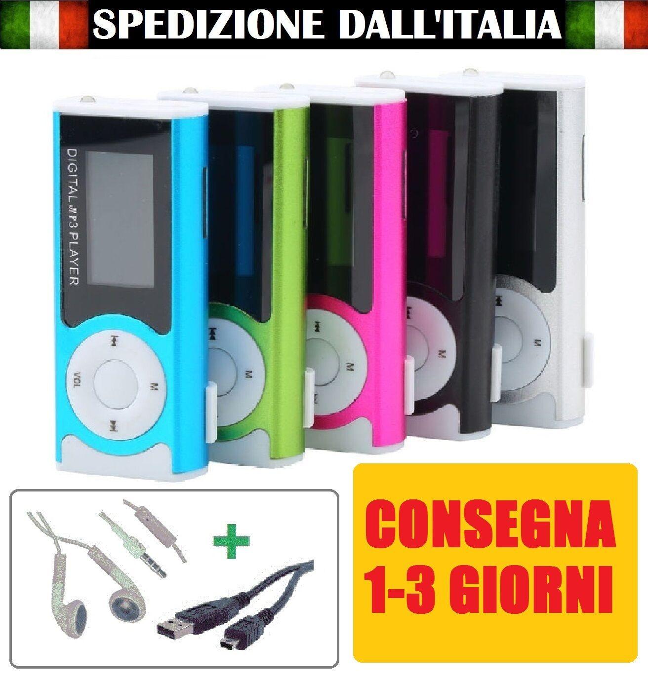 Mini Lettore MP3 Player Clip USB LCD Screen Supporta 16GB Micro SD con Display