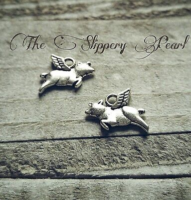 (Pig Charms Flying Pig Charms Pendants Antiqued Silver When Pigs Fly 10 pieces)